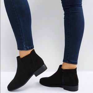 ASOS Black New Look Wide Fit Suedette Ankle Boot